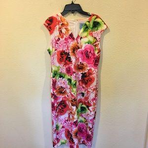 CeCe Dresses - CeCe floral tropic scuba midi sheath dress